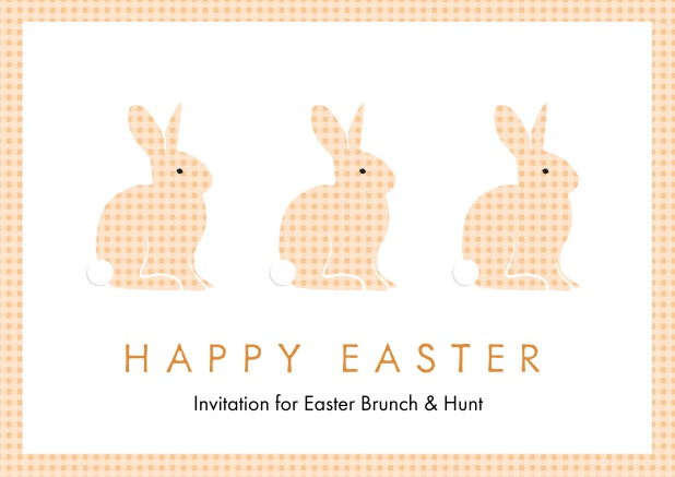 A lively card with three blue Easter bunnies, perfect for Online Easter invitations Orange.