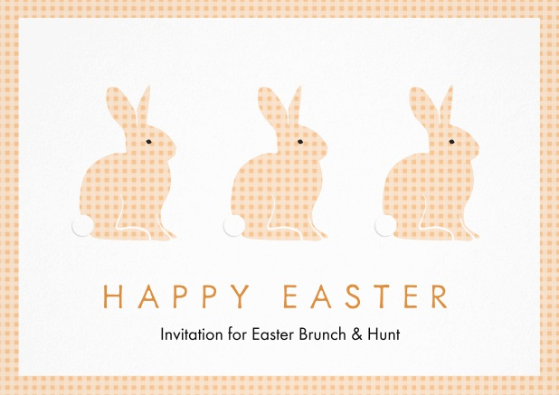A lively card with three blue Easter bunnies, perfect for Easter invitations Orange.