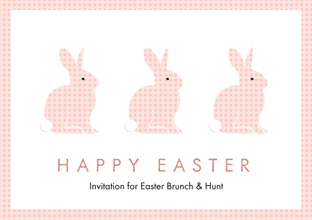 A lively card with three blue Easter bunnies, perfect for Online Easter invitations Pink.