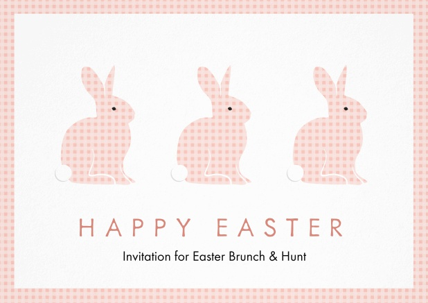 A lively card with three blue Easter bunnies, perfect for Easter invitations Pink.