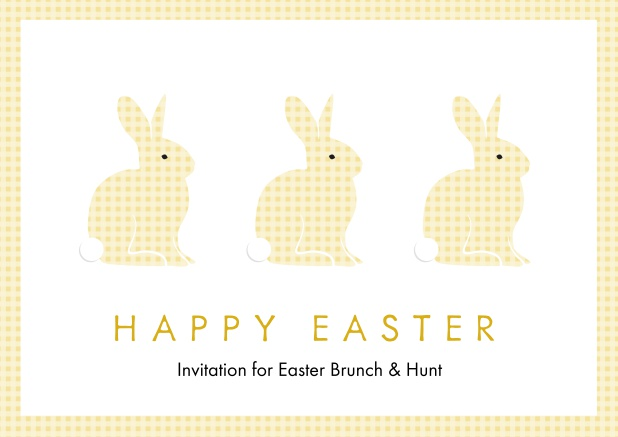 A lively card with three blue Easter bunnies, perfect for Online Easter invitations Yellow.