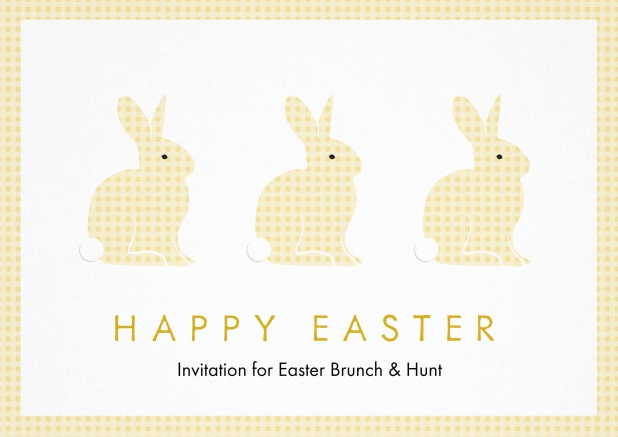 A lively card with three blue Easter bunnies, perfect for Easter invitations Yellow.
