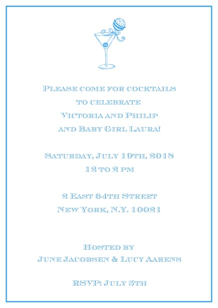 Classic cocktail online invitation card with an illustrated cocktail at the top and thin elegant frame. Blue.