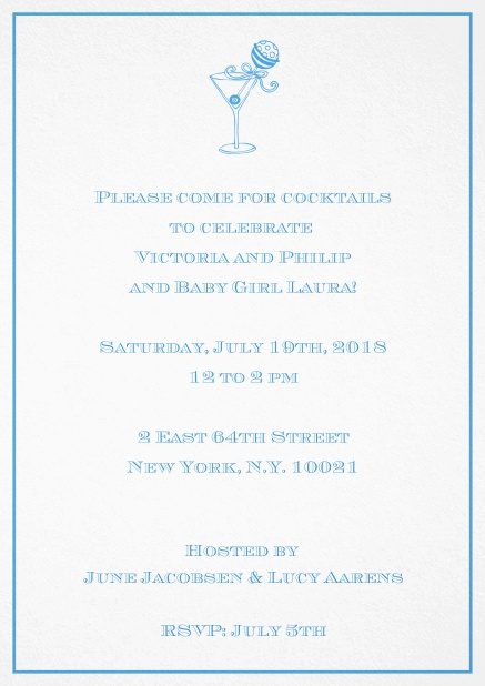 Classic cocktail invitation card with an illustrated cocktail at the top and thin elegant frame. Blue.