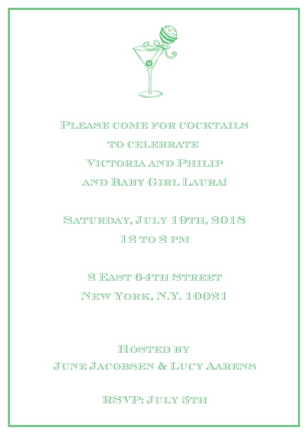 Classic cocktail online invitation card with an illustrated cocktail at the top and thin elegant frame. Green.