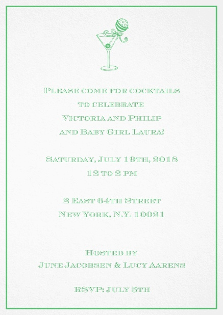 Classic cocktail invitation card with an illustrated cocktail at the top and thin elegant frame. Green.