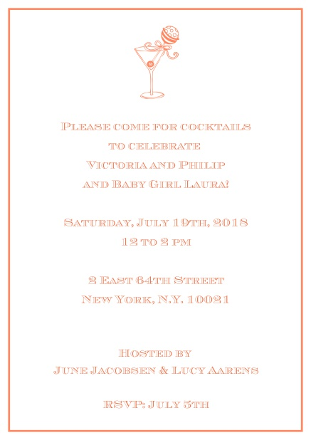 Classic cocktail online invitation card with an illustrated cocktail at the top and thin elegant frame. Orange.