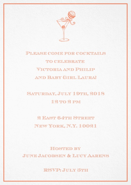 Classic cocktail invitation card with an illustrated cocktail at the top and thin elegant frame. Orange.