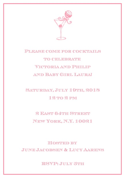 Classic cocktail online invitation card with an illustrated cocktail at the top and thin elegant frame. Pink.