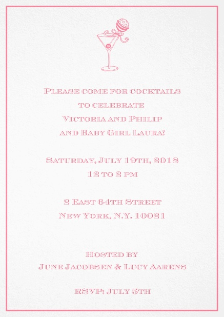 Classic cocktail invitation card with an illustrated cocktail at the top and thin elegant frame. Pink.