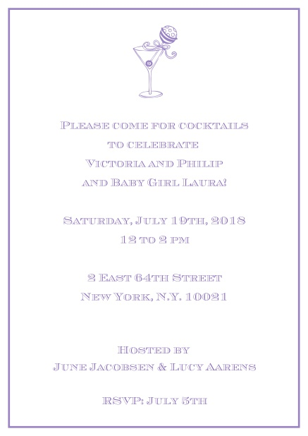 Classic cocktail online invitation card with an illustrated cocktail at the top and thin elegant frame. Purple.