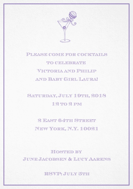Classic cocktail invitation card with an illustrated cocktail at the top and thin elegant frame. Purple.