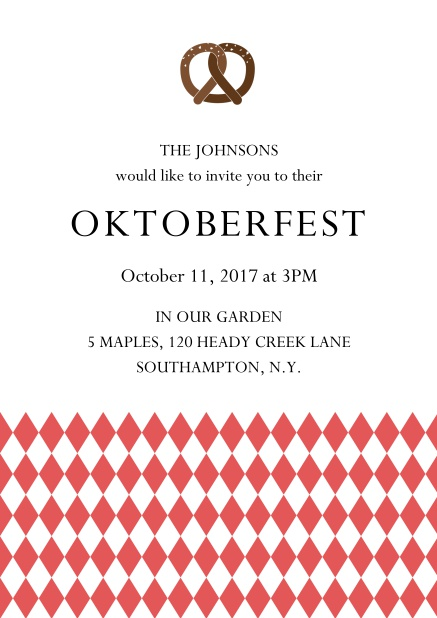 Online Oktoberfest invitation card with pretzel and bavarian flag Red.