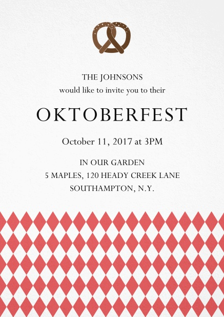 Oktoberfest invitation card with pretzel and bavarian flag Red.