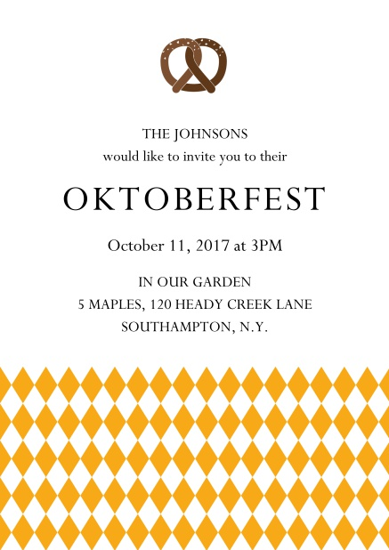 Online Oktoberfest invitation card with pretzel and bavarian flag Yellow.