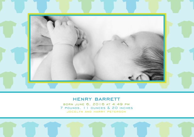 Online Birth Announcement with colorful baby jumpers, photo and text options.