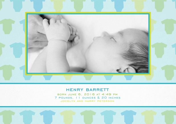 Blue-green announcement card with photo field for upload own and and frame with romper suits.