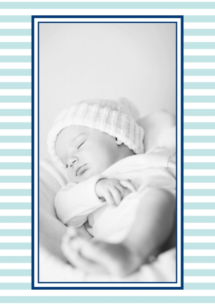 Online birth announcement with stripes and upload own photo in the middle. Blue.