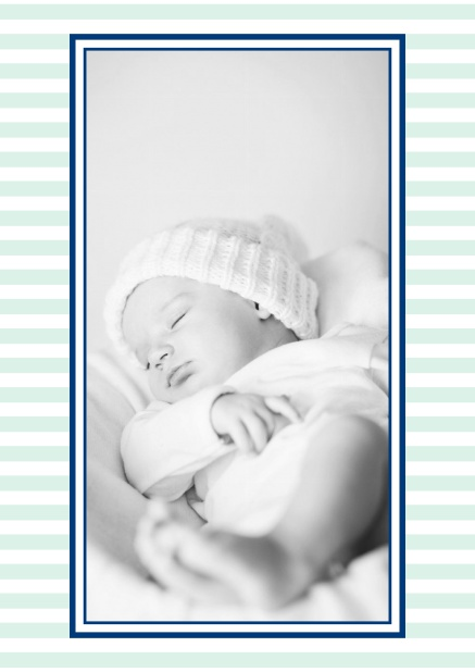 Online birth announcement with stripes and upload own photo in the middle. Green.