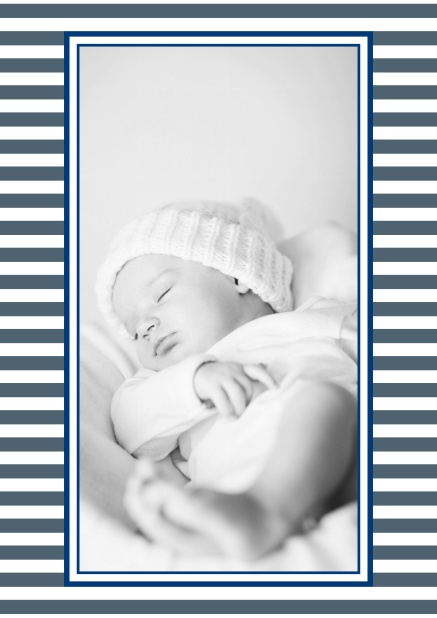 Online birth announcement with stripes and upload own photo in the middle. Navy.