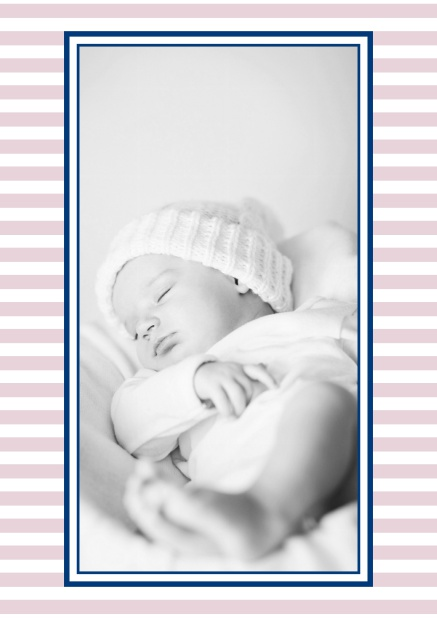 Online birth announcement with stripes and upload own photo in the middle. Pink.