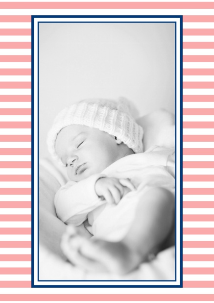 Online birth announcement with stripes and upload own photo in the middle. Red.