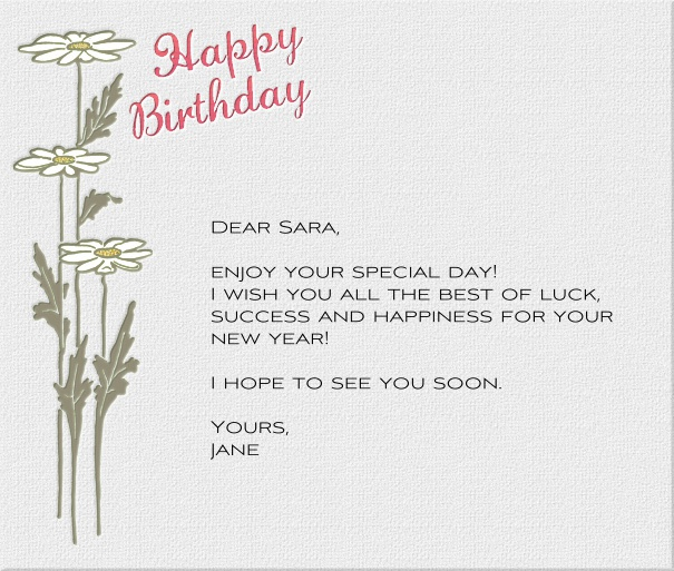 White Seasonal Birthday Card with White Lilies and Header Text.
