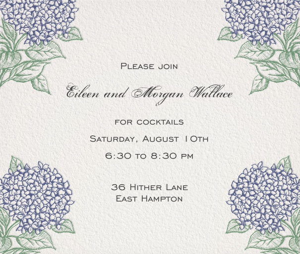 White Party Invitation with purple flower border.