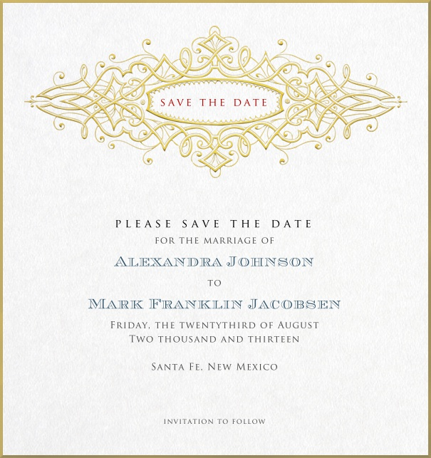 Formal Corporate Save the Date Card with golden border.