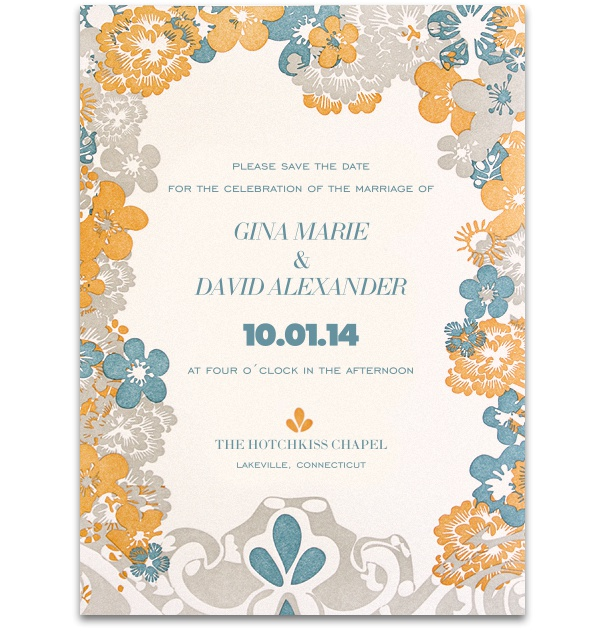 High format floral card with yellow, grey and blue flowers.