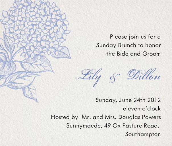 Spring themed Brunch and Wedding Invitation with floral motif.