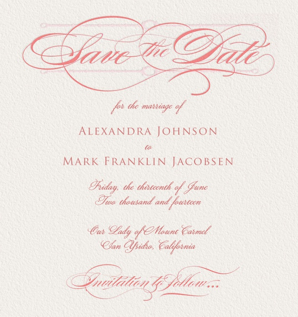 Beige, classic Online Save the Date Card with pink text.