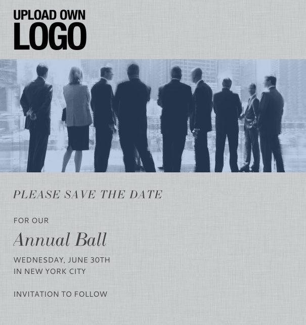 Rectangular online Save the Date template for corporate events and annual ball with light background, space to upload own logo and with event details box on the bottom.