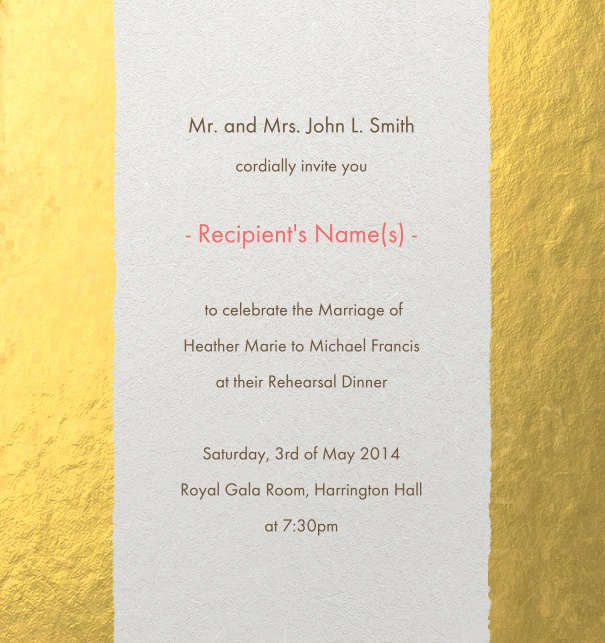 Modern Formal party Invitation online with gold border and recipient monitoring.