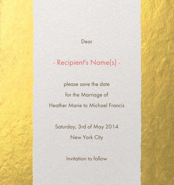 Modern Formal party Save the Date Card online with gold border and recipient monitoring.