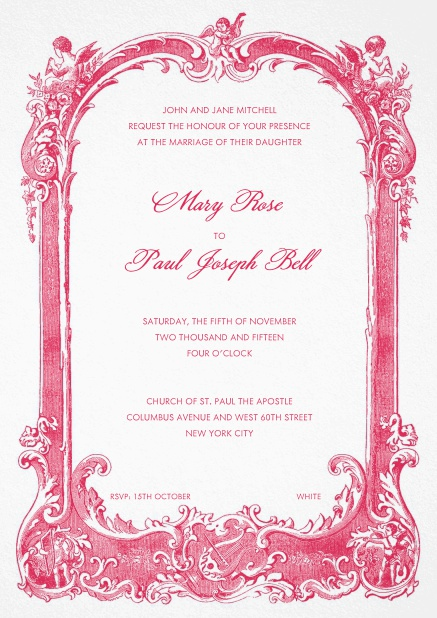 Menu card with elaborate red design