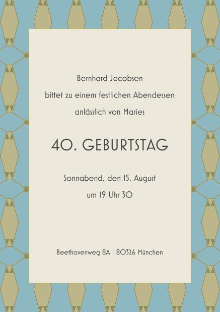 Online Einladung Zum 40. Geburtstag Mit Musterrand Und Mittigem Text.