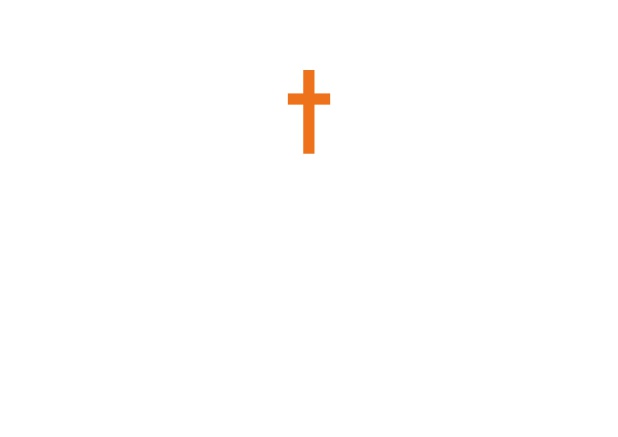 Online Confirmation invitation card with customizable color and Christian Cross on front. Orange.