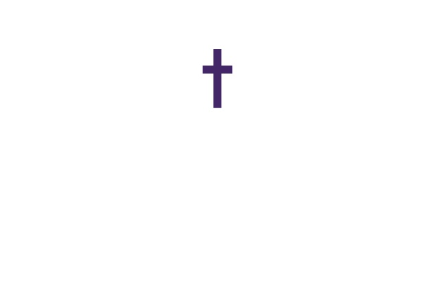 Online Confirmation invitation card with customizable color and Christian Cross on front. Purple.