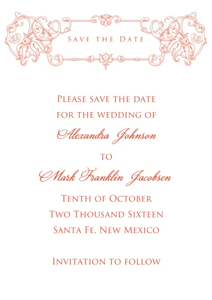 Online Wedding save the date card with red deco at the top.