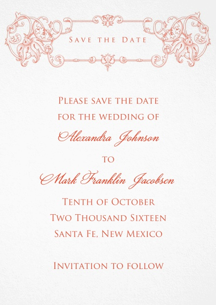 Classic paper wedding save the date card design.