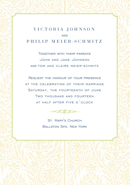 Online wedding invitation card with illustrated golden frame.