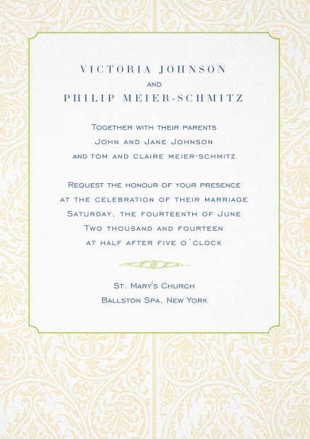Wedding invitation card with illustrated golden frame.