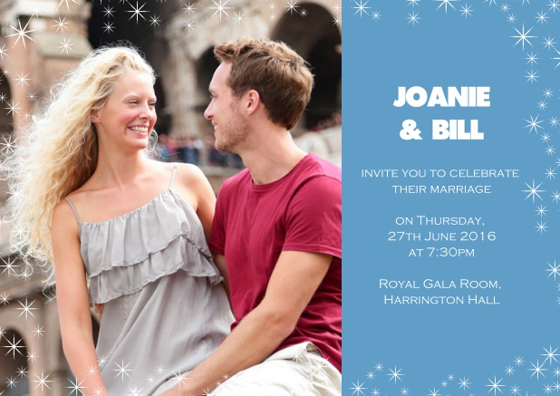 Online Photo wedding card with blue side and flowers. Blue.