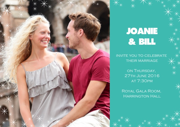Online Photo wedding card with blue side and flowers. Green.
