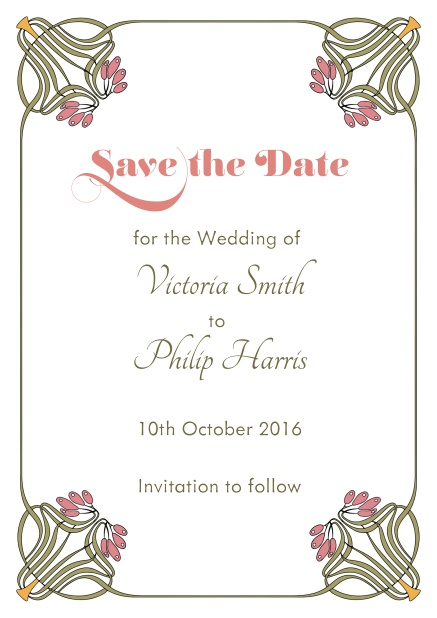 Online Wedding save the date with photo field on the back and art-nouveau floral deco.