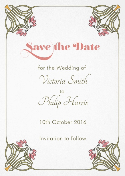 Wedding save the date with photo field on the back and art-nouveau floral deco.