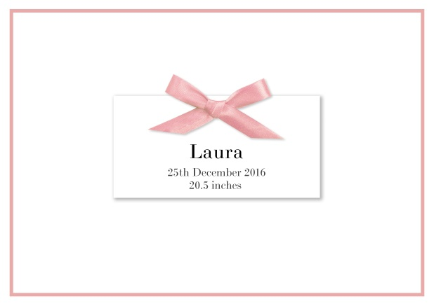 Online  Birth announcement with PRINTED rosa ribbon and matching rosa line frame and photo inside left.