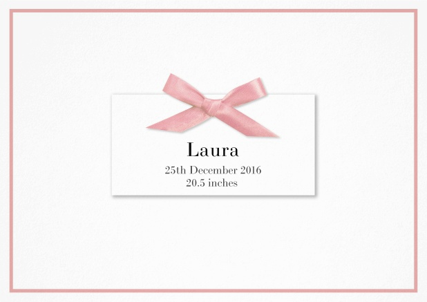 Paper Birth announcement with PRINTED rosa ribbon and matching rosa line frame and photo inside left.