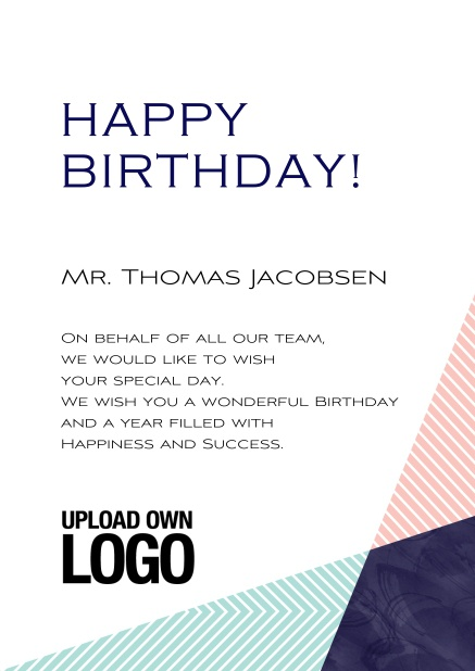 Online Corporate Birthday Greeting Card With Pink Blue And Black Elements